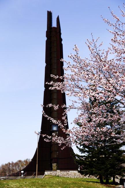 記念塔と桜